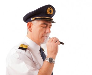 Airline pilot with e-cigarette