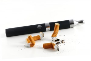 cigarette butts and electric cigarette isolated on white backgro