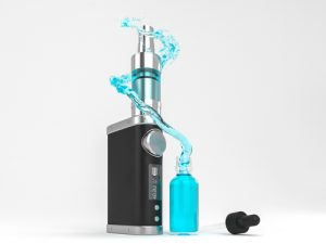 Ecig battery mod atomizer and ejuice splash. High quality render